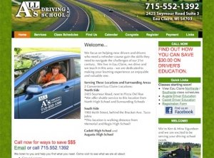 All A's Driving School screen shot, eau claire, wi
