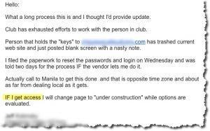 Club 'web guru' destroys the site.